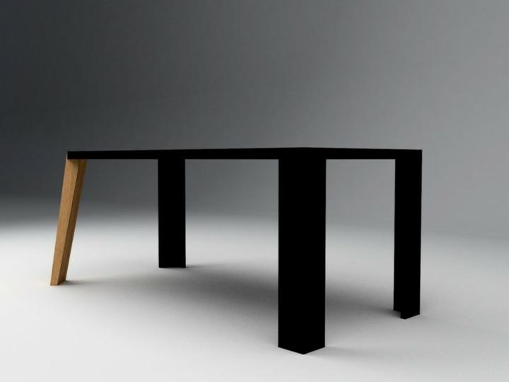 elegantes mesa negro acabado patas