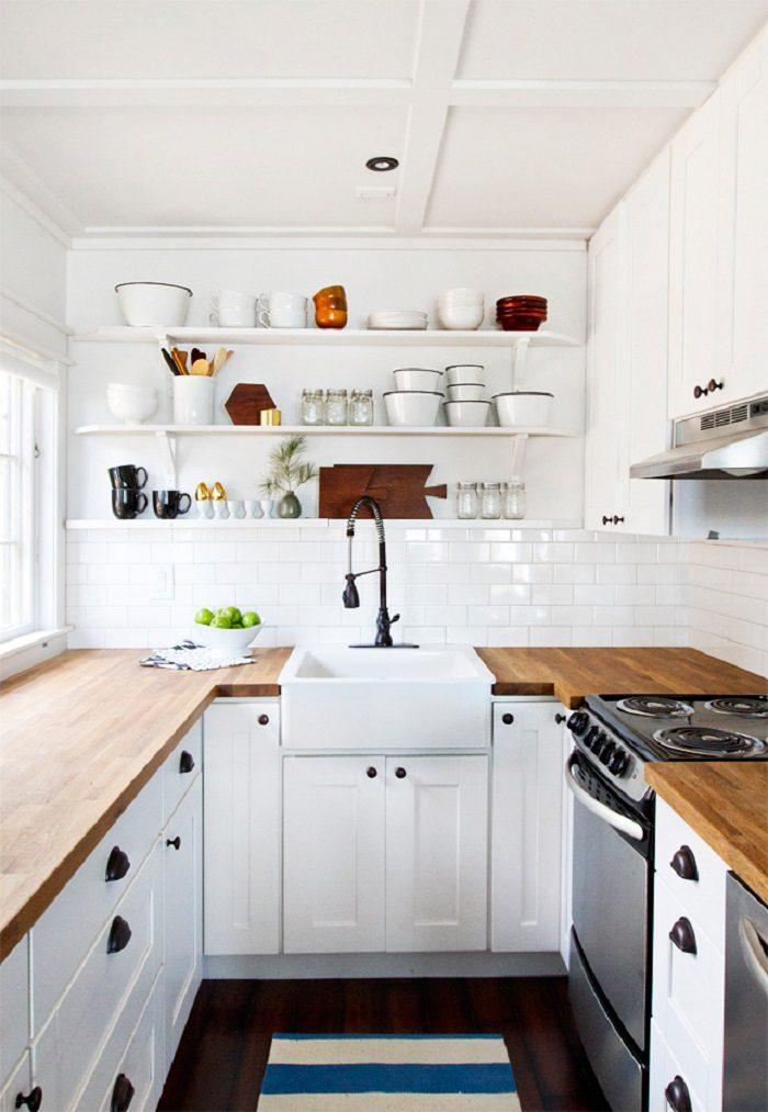 cocinas blancas pequeñas diseños variedades