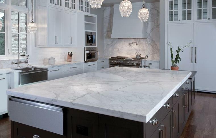 Encimeras de cocina de materiales innovadores 50 modelos - Encimera marmol cocina ...