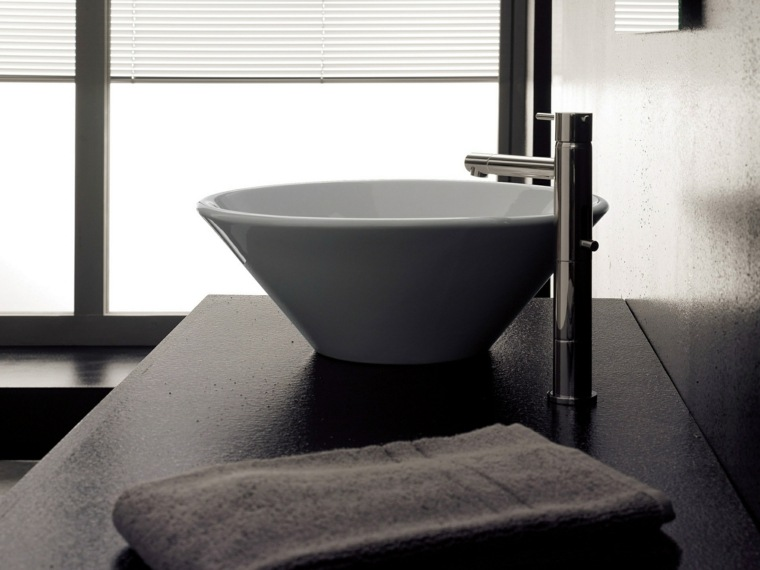 encimera negra lavabo moderno blanco ideas