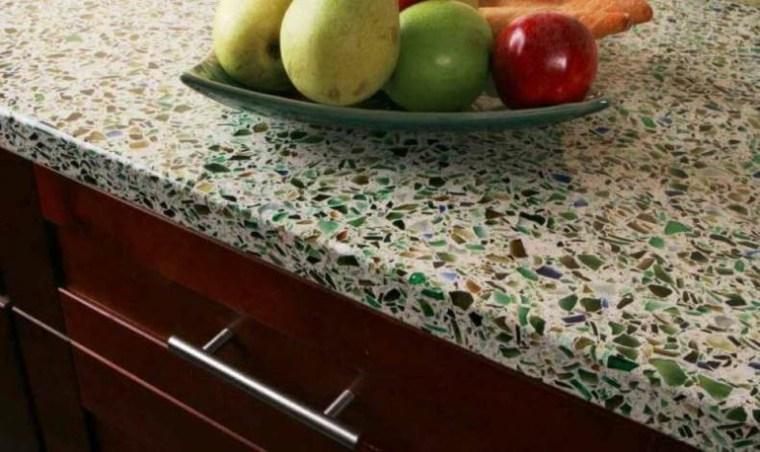 encimera trozos vidrio reciclado verdes