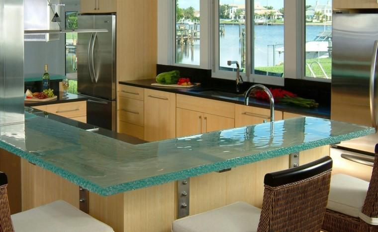 Encimeras de cocina de materiales innovadores 50 modelos - Encimeras de cocina de cristal ...