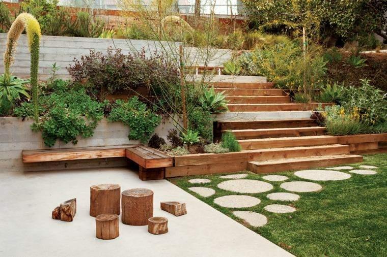 escalera madera jardin diseno moderno ideas