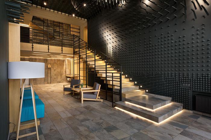 escaleras creatividad salones led amarillo