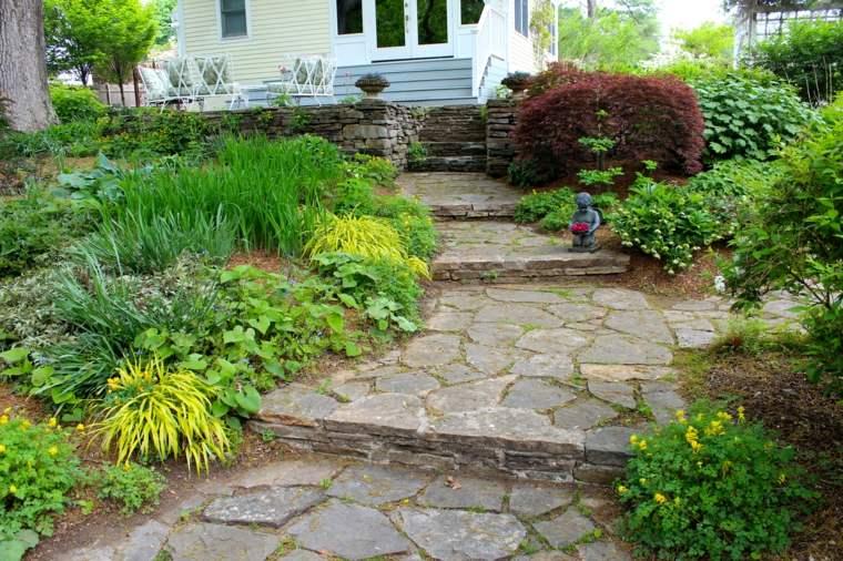 escaleras jardin plantas opciones hierba montana japonesa ideas