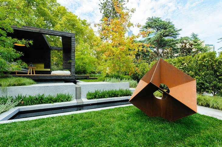 esculturas plantas diseño modernos cesped movimientos