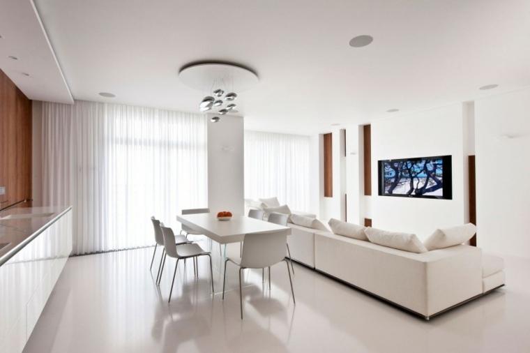 espacio blanco salones preciosos abierto comedor cocina ideas