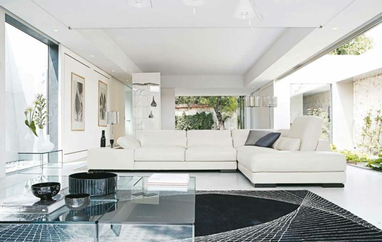 espacio blanco salones preciosos alfombra negra ideas