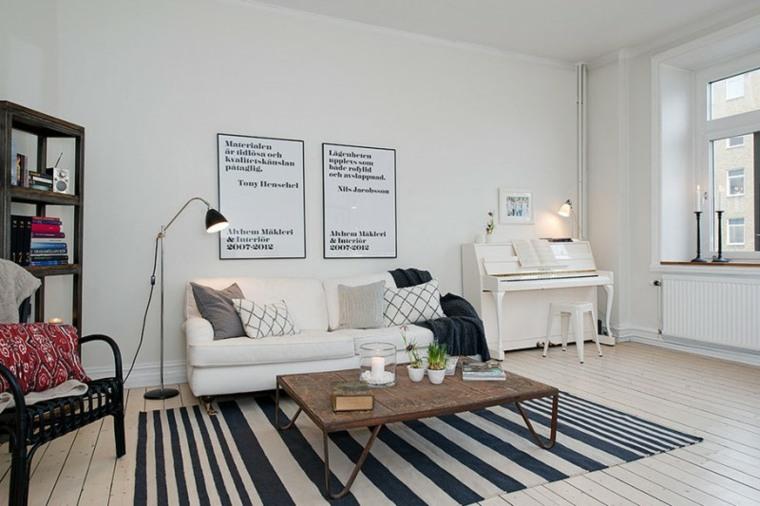 espacio blanco salones preciosos alfombra rayas ideas