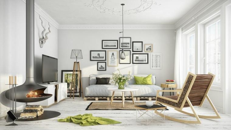 espacio blanco salones preciosos chimenea colgando techo ideas