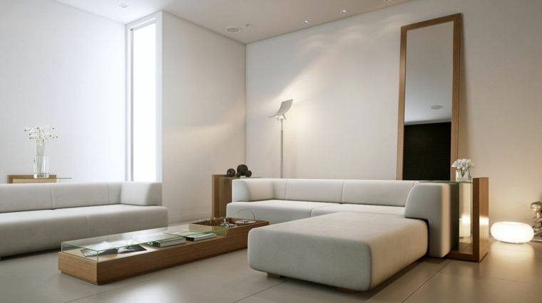 espacio blanco salones preciosos espejo grande ideas