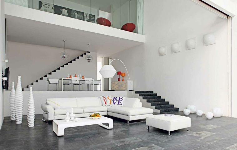 espacio blanco salones preciosos jarrones decorativos ideas