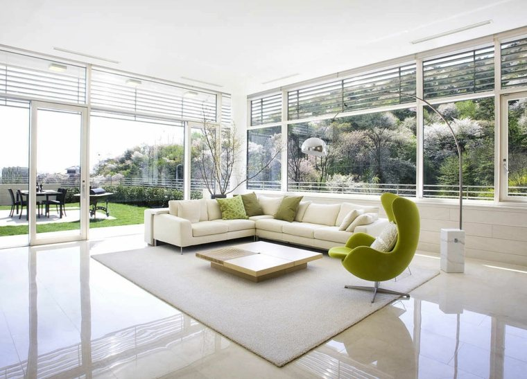 espacio blanco salones preciosos sillon verde ideas