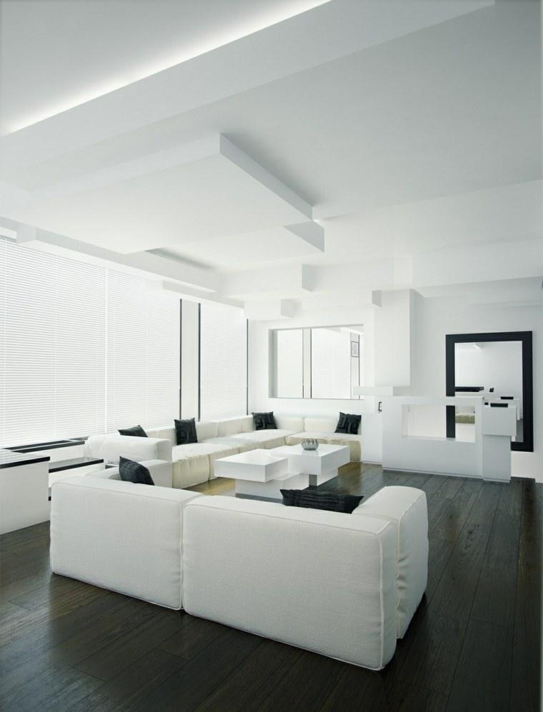 espacio blanco salones preciosos suelo negro ideas