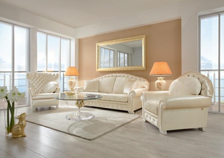 espacio en blanco salones preciosos acabados oro ideas
