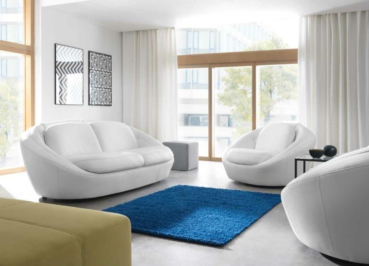 espacio en blanco salones preciosos alfombra azul ideas
