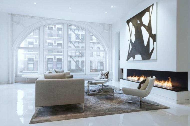 espacio en blanco salones preciosos chimenea moderna ideas