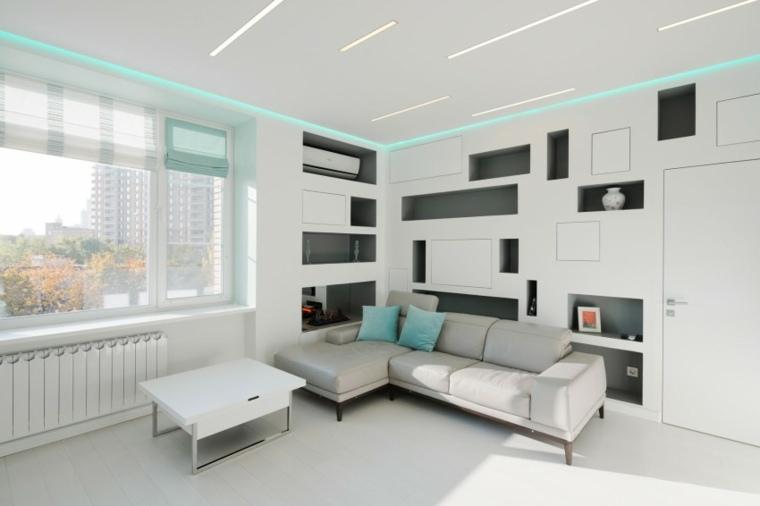 Espacio en blanco 50 ideas de salones modernos - Iluminacion salones modernos ...