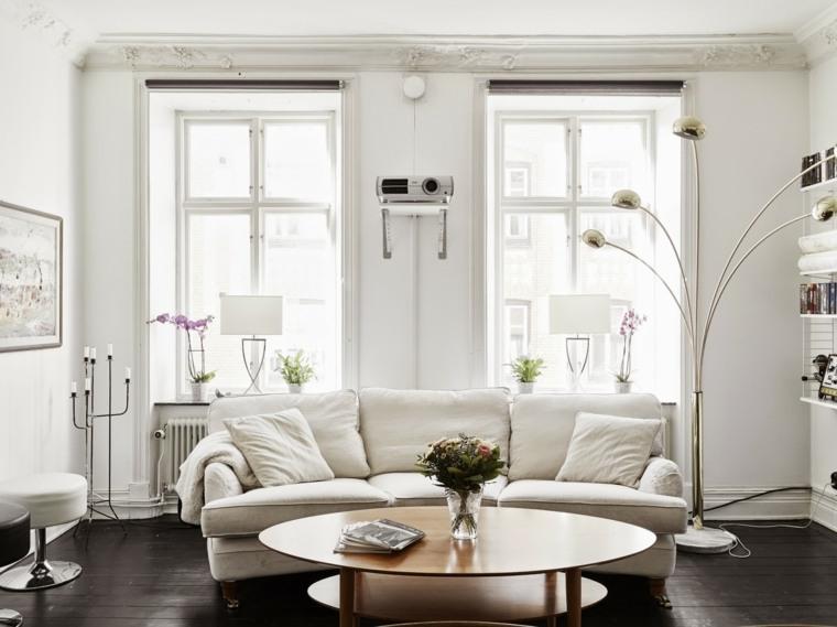 espacio en blanco salones preciosos mesa madera ideas