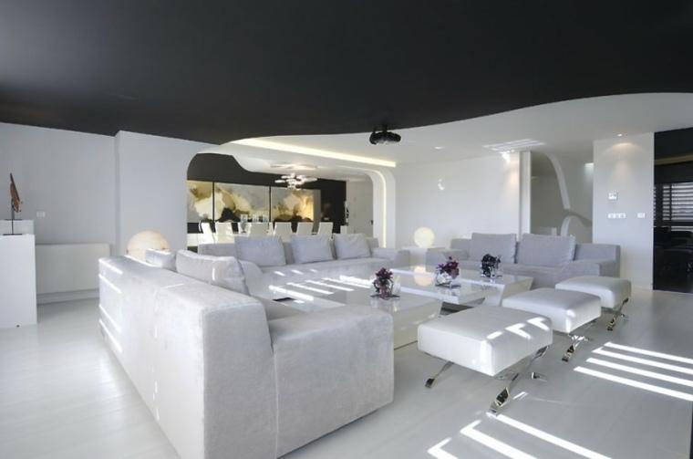 espacio en blanco salones preciosos techo negro ideas