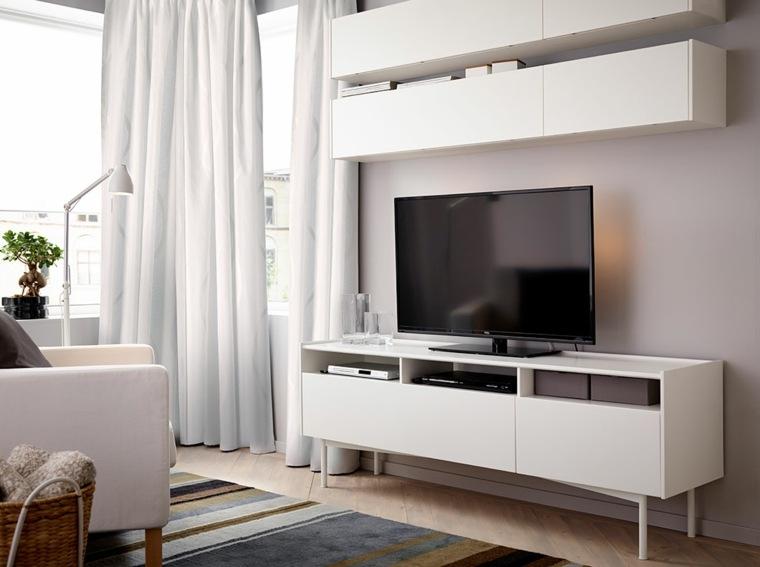 espacio en blanco salones preciosos televisor ideas