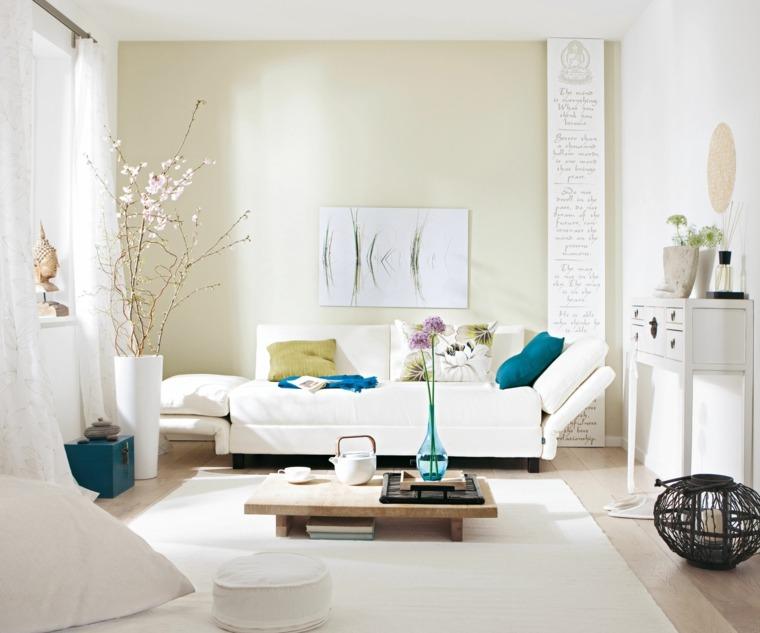 espacio en blanco salones preciosos toques azul ideas