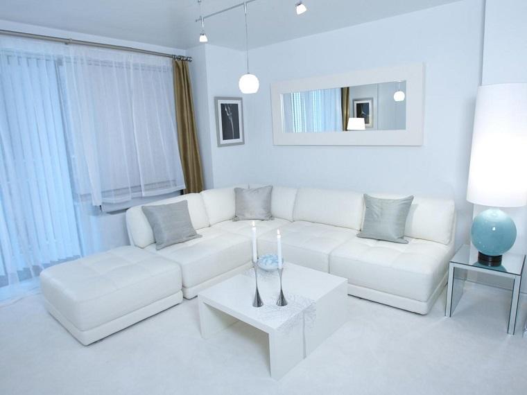 Espacio en blanco 50 ideas de salones modernos for Espejo grande blanco