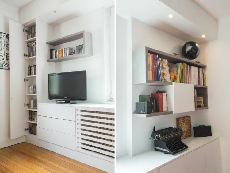 Muebles tv integrados con biblioteca 75 ideas modernas - Muebles tv originales ...