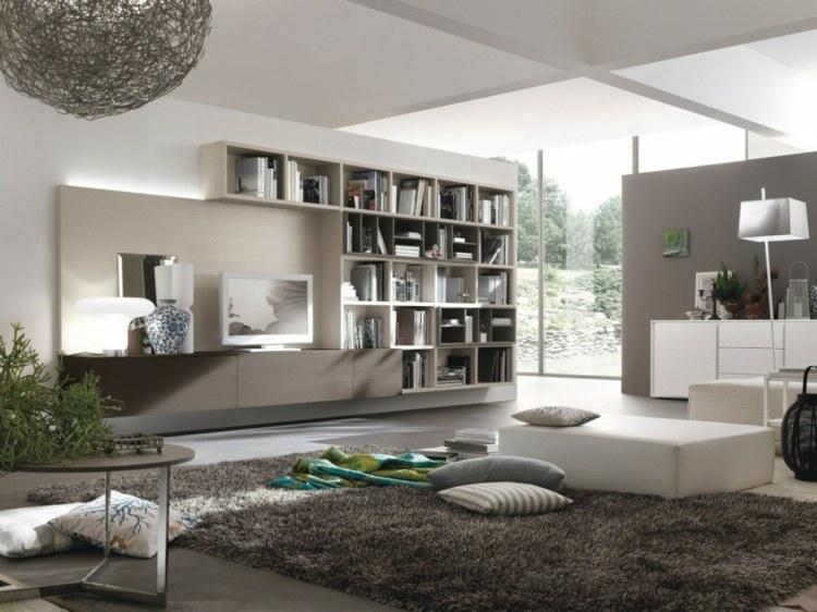 Muebles tv integrados con biblioteca 75 ideas modernas - Muebles estanterias modulares ...