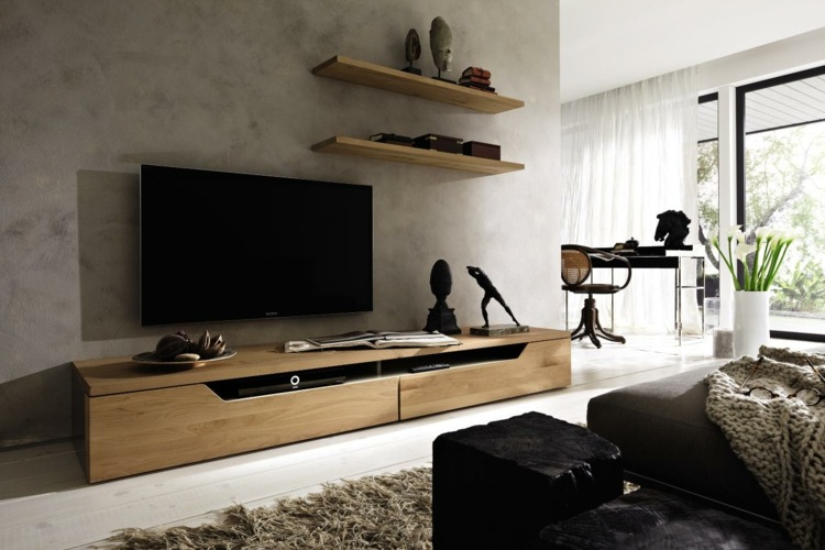 Muebles tv integrados con biblioteca 75 ideas modernas - Muebles tv de diseno ...