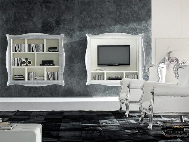 Muebles TV integrados con biblioteca - 75 ideas modernas -