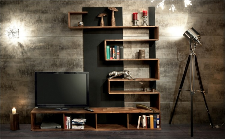 Muebles tv integrados con biblioteca 75 ideas modernas - Faire son canape soi meme ...