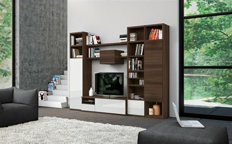 estantes salon moderno blanco madera