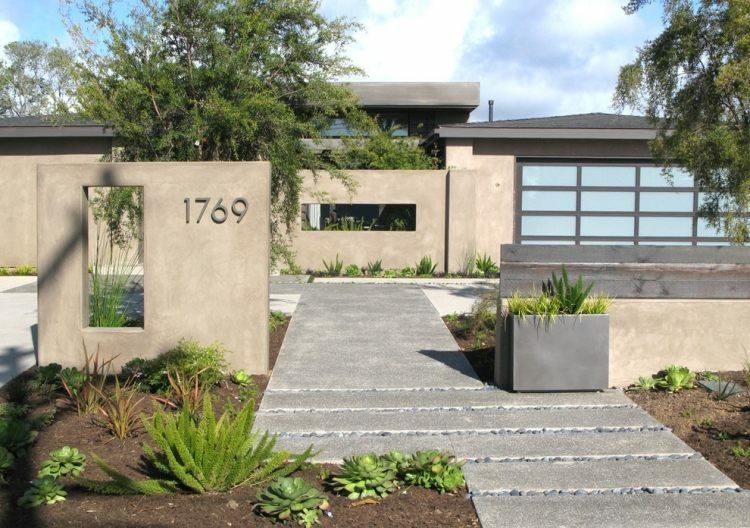 estructuras cemento jardines modernos