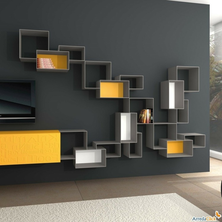 Muebles tv integrados con biblioteca 75 ideas modernas for Mobili contenitori ikea