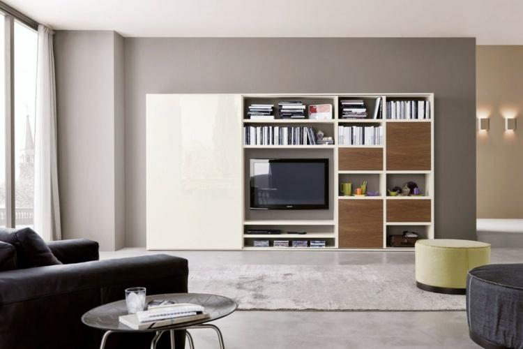 Muebles tv integrados con biblioteca 75 ideas modernas for Mueble salon tv