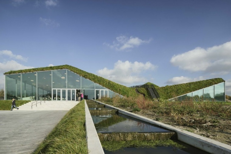 estupenda arquitectura cubiertas verdes césped
