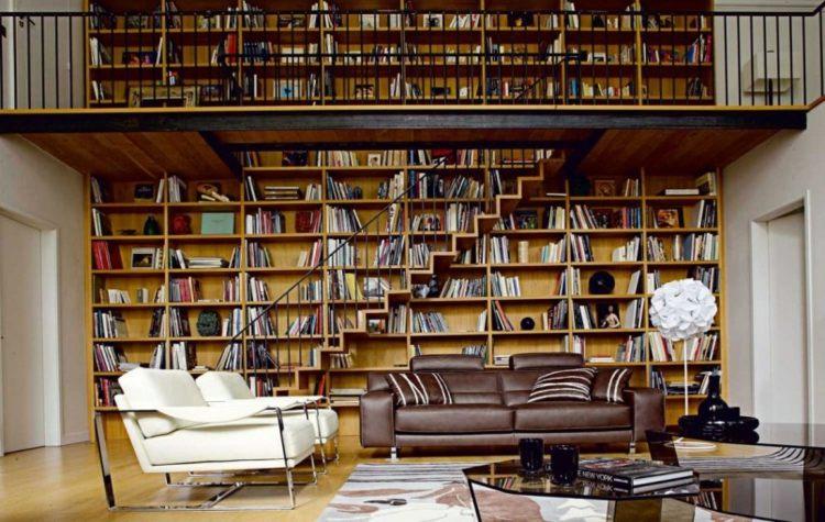 estupenda biblioteca grande pared salón