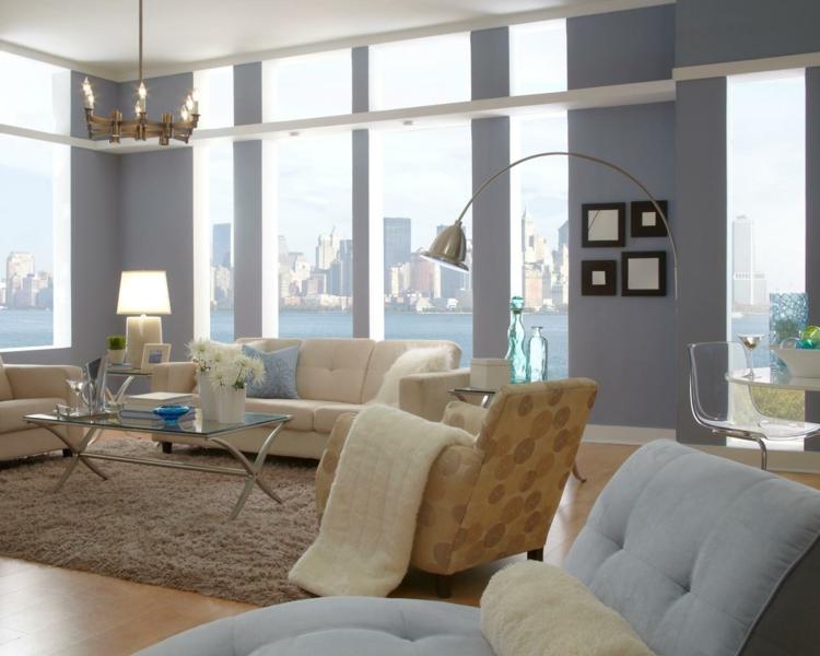 estupenda sala estar color celeste