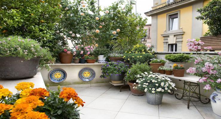 estupenda terraza decorada flores