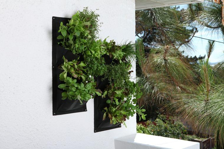 estupendo diseño jardineras bolsas pared