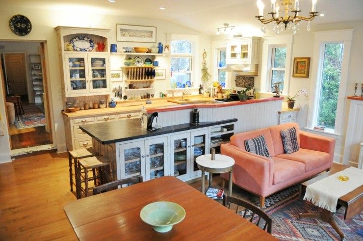 fotos de cocinas americanas azules mesa muebles