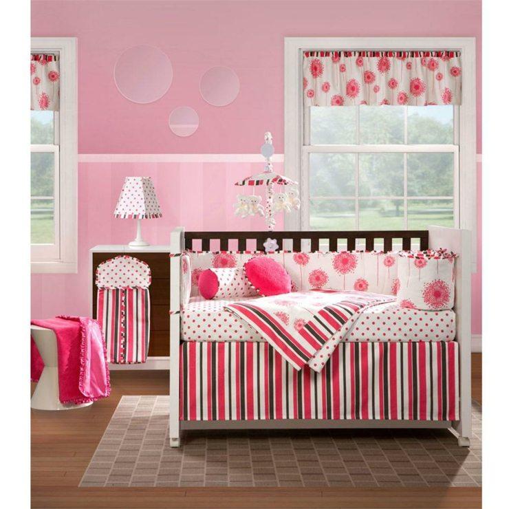 habitacion bebe niña tendencias rosas circulos