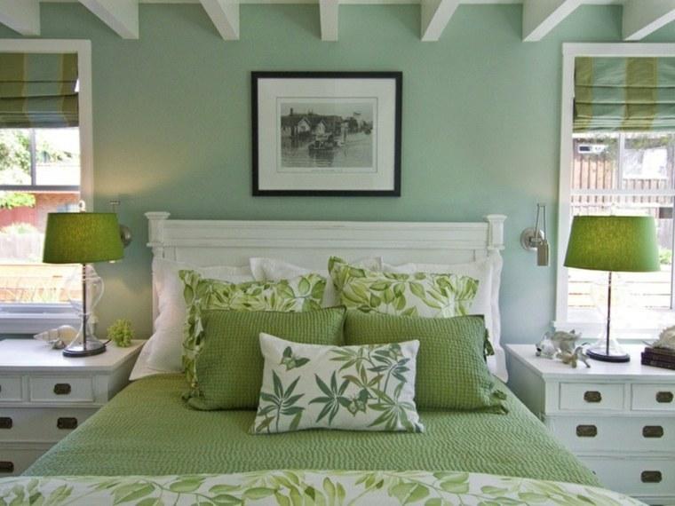 habitacion decorada colores verdes