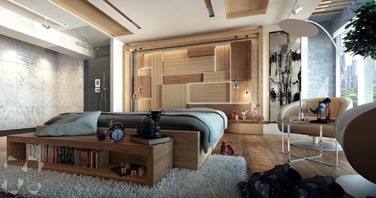 habitacion diseño moderno madera