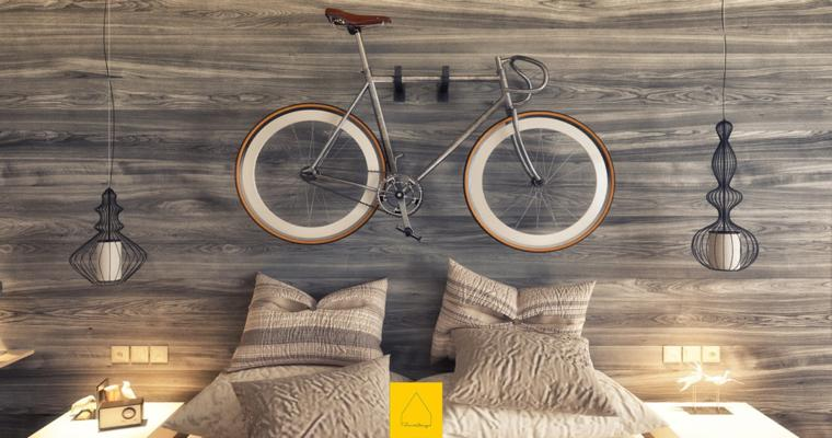 revestimiento madera bicicleta cabecero