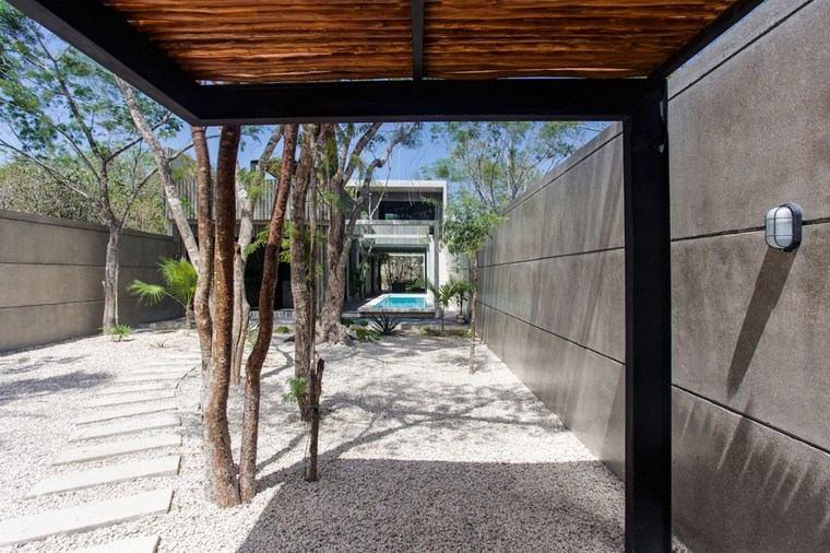 diseno mexico entrada jardin seco piedras ideas