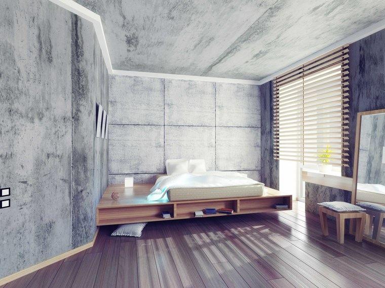 hormigon armado dormitorio muebles madera ideas