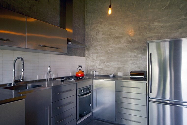 hormigon armado pared cocina diseno industrial ideas
