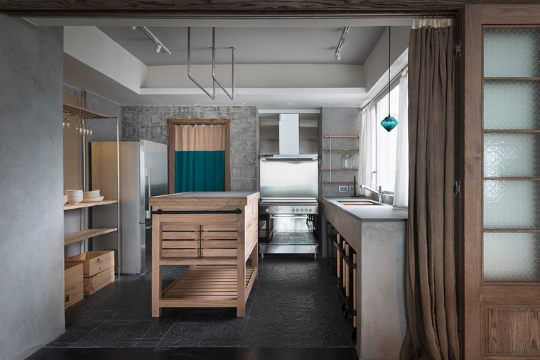 hormigon armado paredes lavabo cocina muebles madera ideas